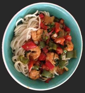 noodles con pimientos